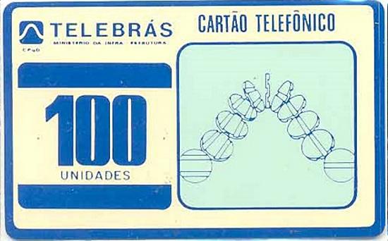 Cartão telefônico - Telebrás - Experimental Branco e Azul com Fichas