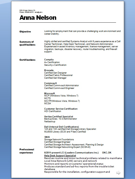 Help Desk Support Specialist Sample Resume Format in Word Free Download - Customer Support Specialist Sample Resume