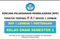 RPP 1 Lembar PAI Kelas 6 SD/MI Kurikulum 2013