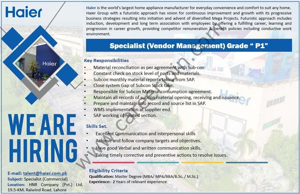 Haier Pakistan Jobs July 2021