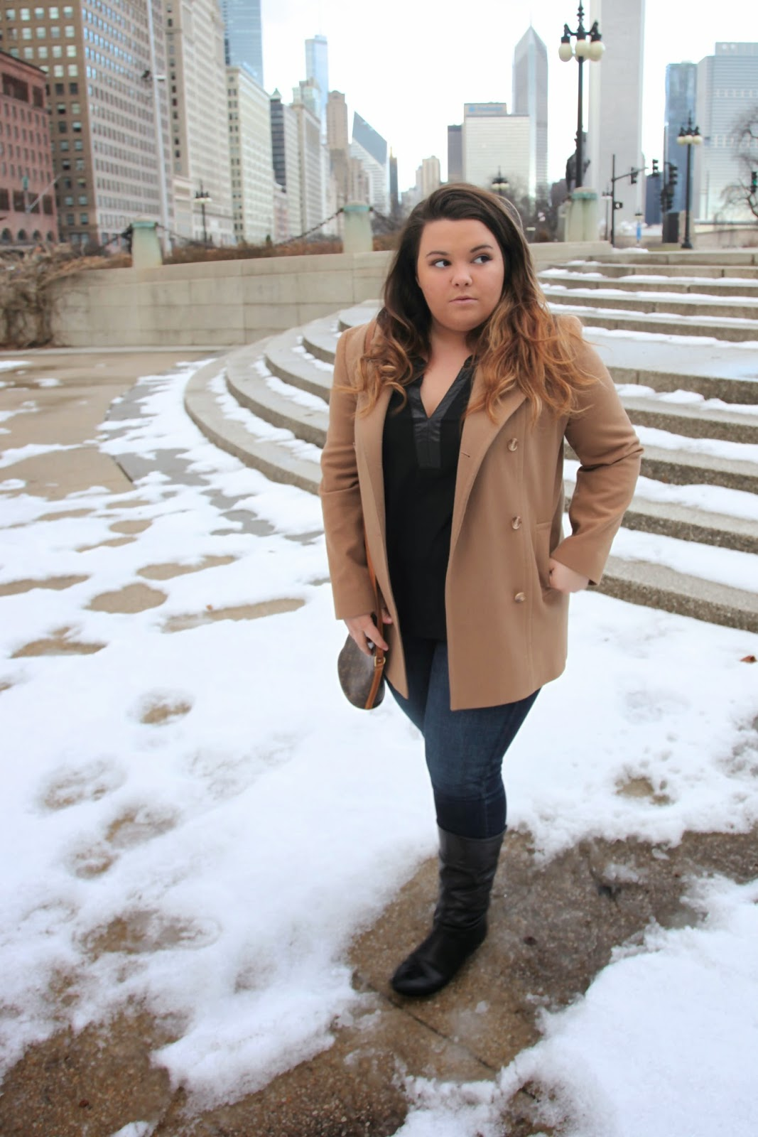 tan coat, kim kardashian coat, chicago, natalie craig, natalie in the city, bbw, thick girls, plus size fashion blogger, ootd, chicago blogger network, black, leather, denim, black boots, Pendleton coats, chicago skyline, curvy women, plus size acceptance movement, fatshion