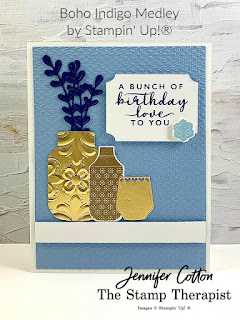 This birthday card uses Stampin' Up!'s Boho Indigo Medley, Tasteful Textile embossing folder, Gold Foil Paper, and Tasteful Labels dies.  Click the photo to go to video and supply list.  #StampinUp #StampTherapist