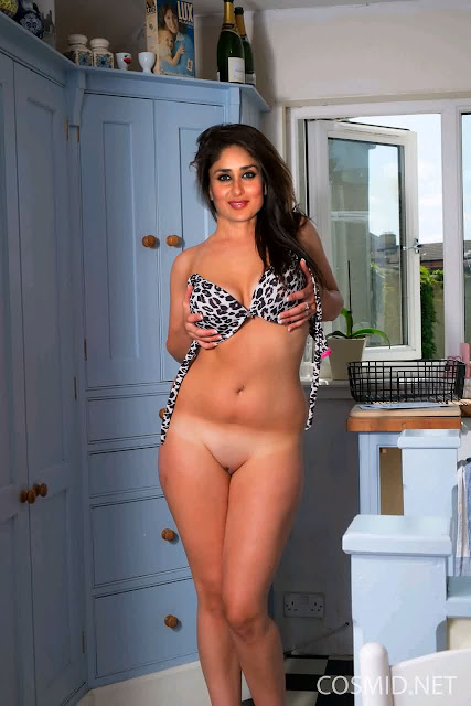 Kareena Kapoor shaved pussy without panties pressing her bra