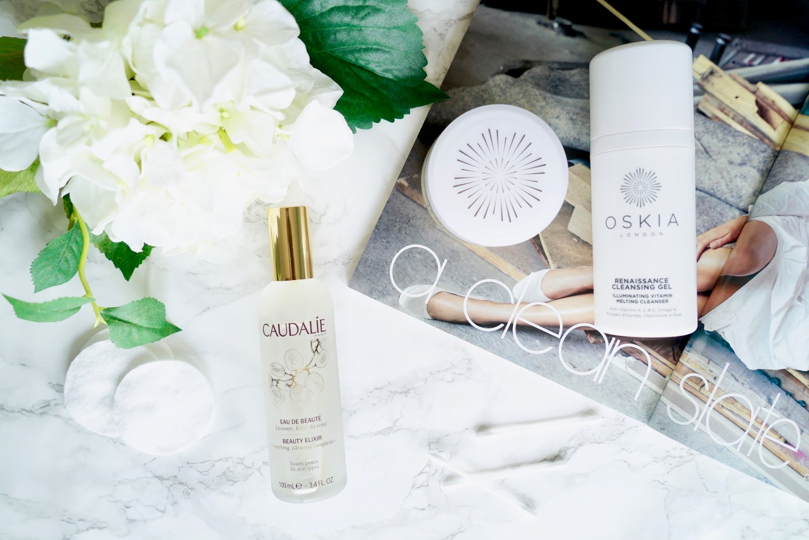 Caudalie Beauty Elixir, Oskia Renaissance Cleansing Gel, Oskia Micro Exfoliating balm review.