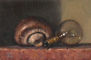 Still life oil painting of a brown mushroom beside an incandescent light bulb.