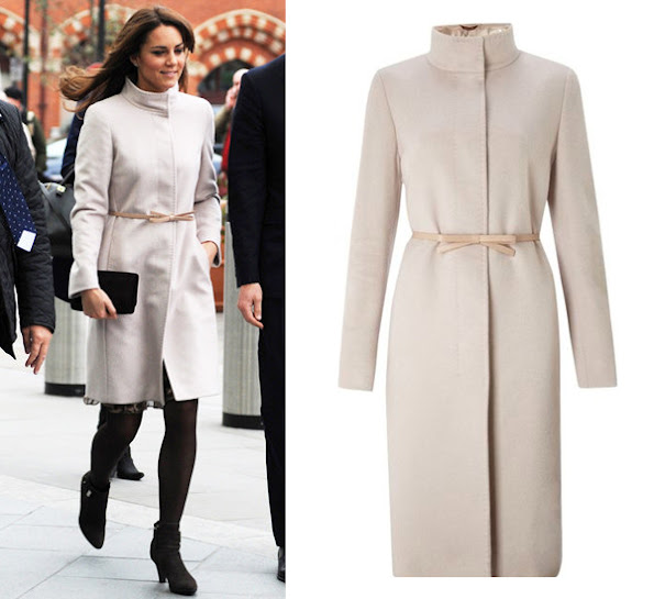 Kate Middleton wore a wool coat by Max Mara. Max Mara is an Italian fashion business. Reggio Emilia by Achille Maramotti