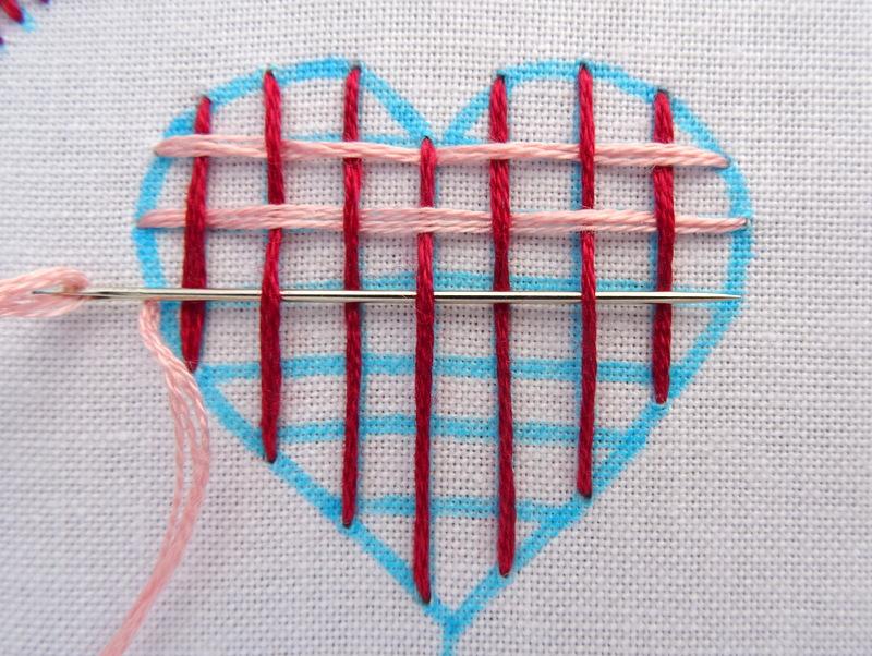 Hướng dẫn thêu trái tim dệt lưới - Hình 3