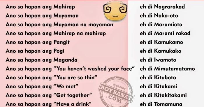 Banat Tagalog Pick Lines