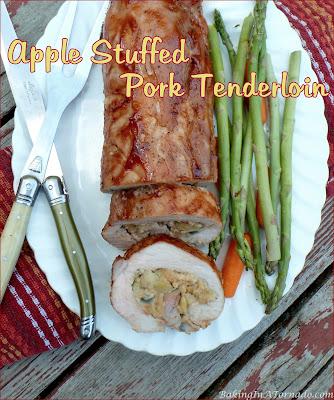 Apple Stuffed Pork Tenderloin, butterflied pork tenderloin is stuffed and cooked covered with barbecue sauce. | Recipe developed by www.BakingInATornado.com | #recipe #dinner