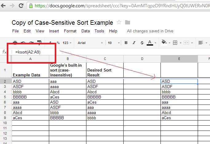 igoogledrive google spreadsheet sort in case sensitive ascending order. Black Bedroom Furniture Sets. Home Design Ideas