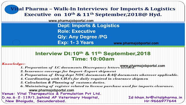 Vital Pharma Walk In Interviews at 10 & 11 Sep.