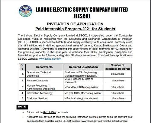 Lesco-paid-internship-2021-apply-online