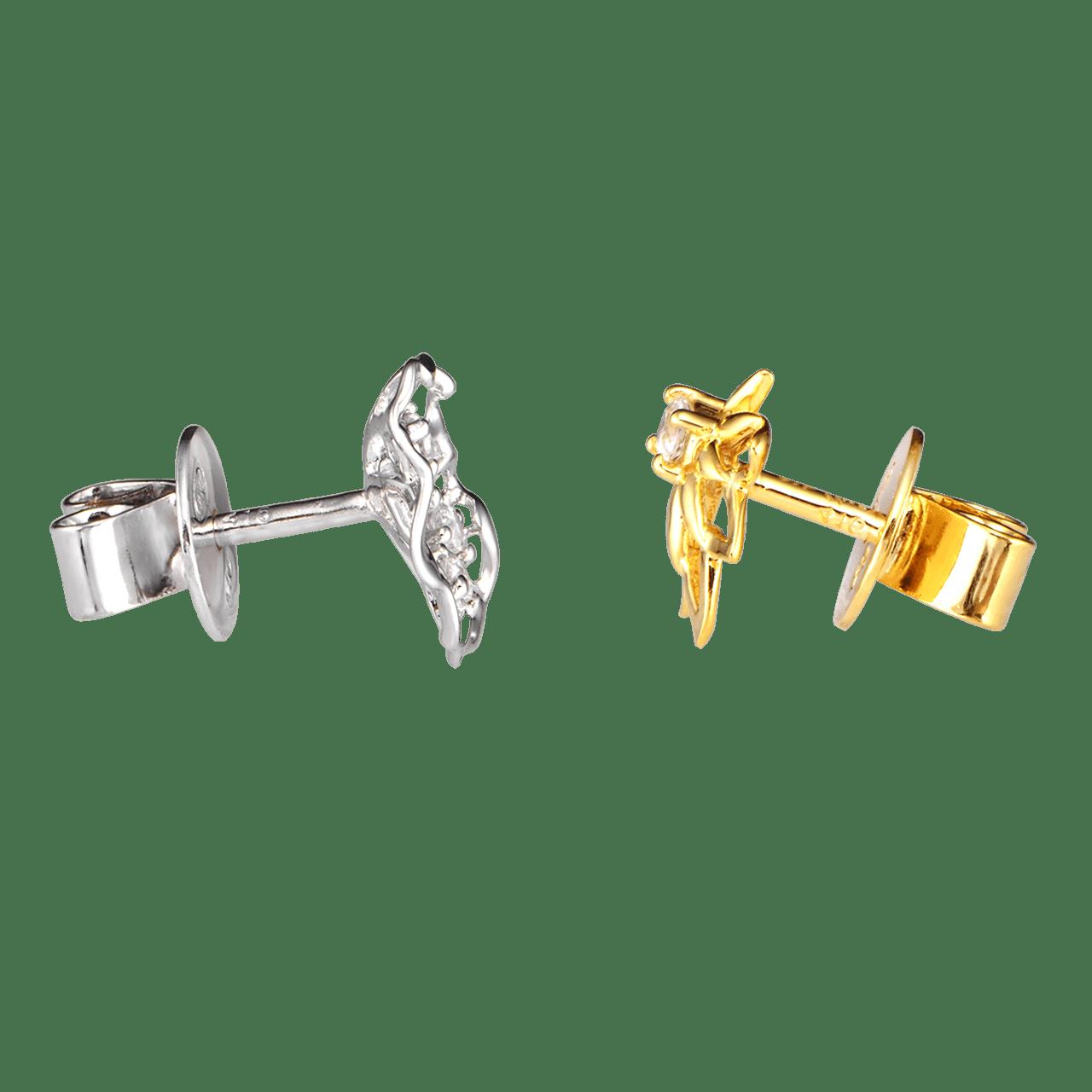 Bông tai Vàng 10K đính đá ECZ Swarovski PNJ Hoa Sen XMXMC000042