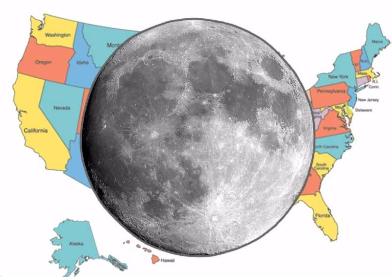 Map of Comparison of the sizes of the Moon and the USA