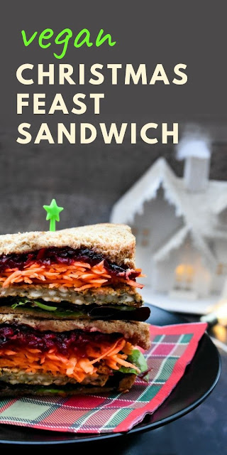 Vegan Christmas Feast Sandwich. A layered festive sandwich with sage and onion stuffing and generous layers of vegetables. Add it to your winter lunchbox and enjoy this Christmas luunch. #veganchristmas #veganchristmassandwich #vegansandwich #sandwich #sandwiches #festivesandwich #sageandonionstuffing #easychristmasrecipes #stuffing