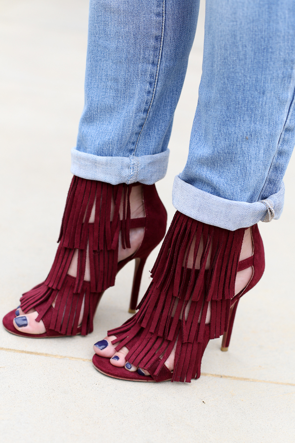 Naturally Me, Burgundy fringe heels