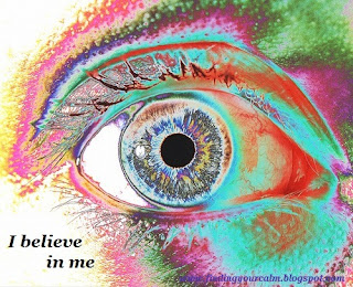 Image of a human eye close up in rainbow colours with text: I believe in me