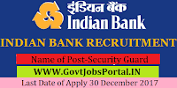 Indian Bank Recruitment 2017– 64 Security Guard