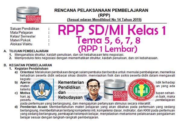 RPP 1 Lembar Tematik SD/MI Kelas 1 Semester 2, Download RPP 1 Halaman Kelas 1 SD MI Kurikulum 2013 Revisi Terbaru, RPP Silabus 1 Halaman Tematik Kelas 1