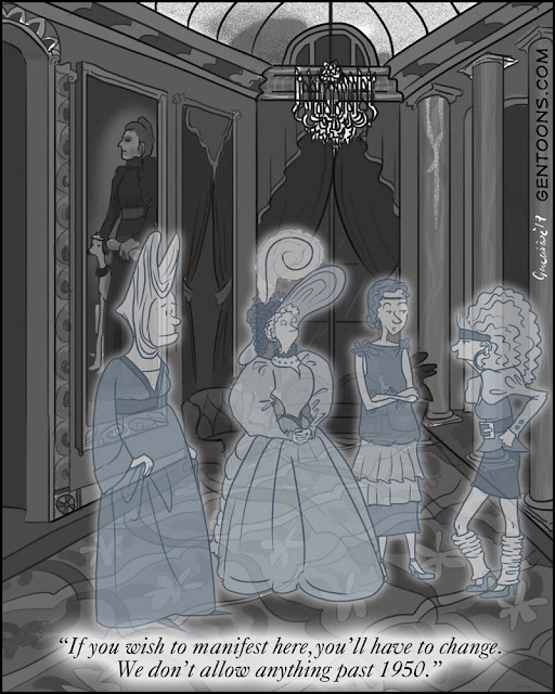 old haunted palace, three ghosts in fashions from 1300, 1700, 1920, talking to ghost from 1985, who is wearing legwarmers and big hair.