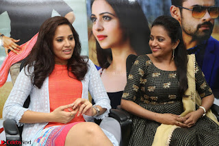 Actress Suma in Black Salwar Suit and Anusuya in orange Dress at winner movie press meet part 2 February 2017 (37).JPG