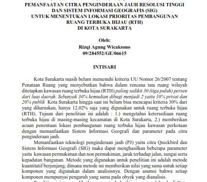 Pemanfaatan Citra Penginderaan Jauh Resolusi Tinggi Dan SIG Untuk Menentukan Lokasi RTH [PAPER]