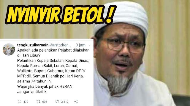 Seorang Ulama Tengku Zulkarnain Nyinyir di Twitter Soal Pelantikan Presiden