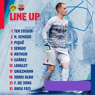 FC Barcelona starting XI vs Dortmund