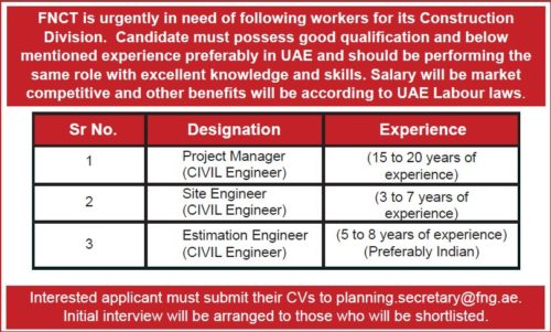 Civil Engineers Urgently Required For Fujairah National Construction & Transport Co. LLC Fujairah