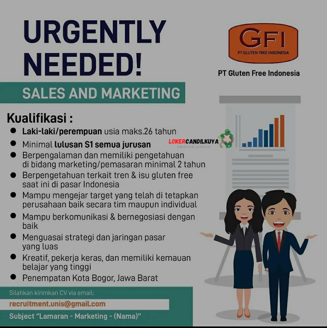 Lowongan Kerja Sales Marketing PT Gluten Free Indonesia