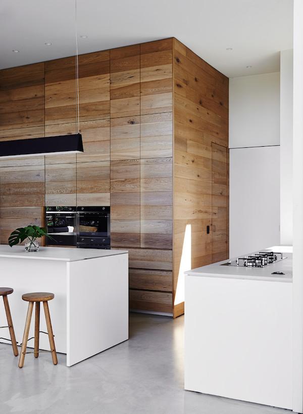 drewno, kuchnia, biała