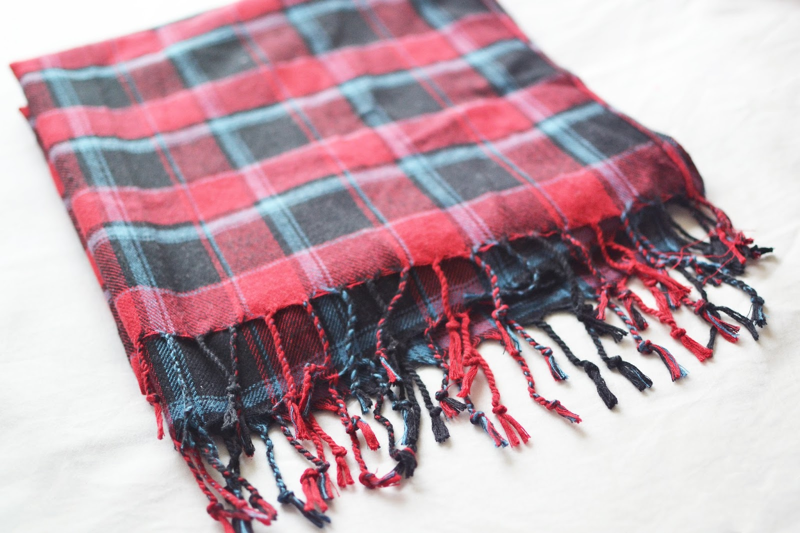 red tartan scarf, primark scarf