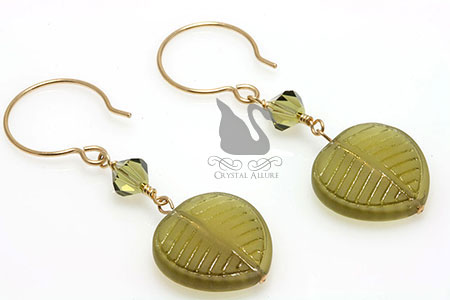 Frosted Leaf Green Khaki Crystal Beaded Earrings (E131)