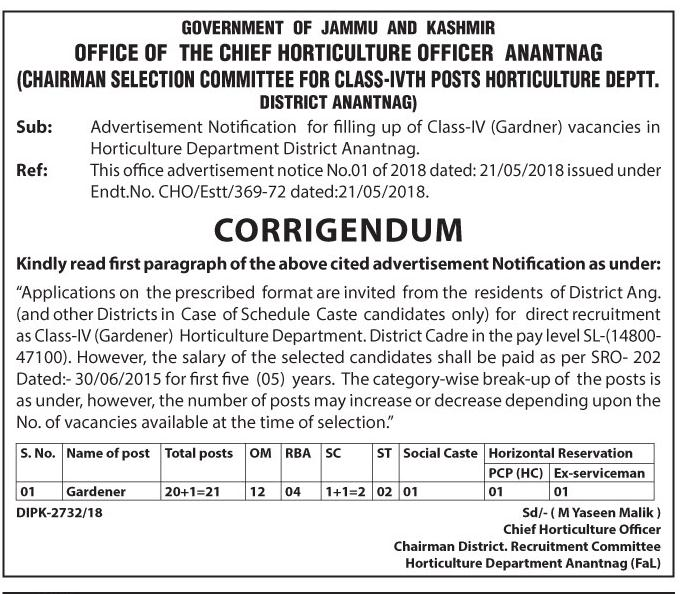 Horticulture Department Anantnag Recruitment 2018 for 21 Gardener Posts