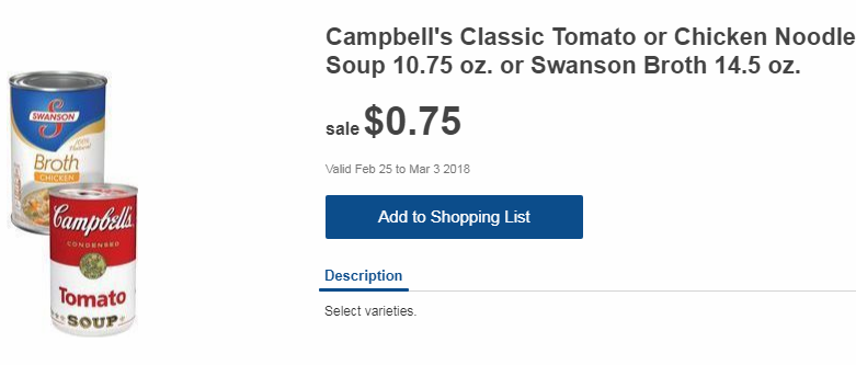 Meijer Weekly Grocery Ad, 2018-02-25 thru 2018-03-03, Page 7, Campbell's Tomato or Chicken Noodle Soup/Swanson's Broth at $0.75/can
