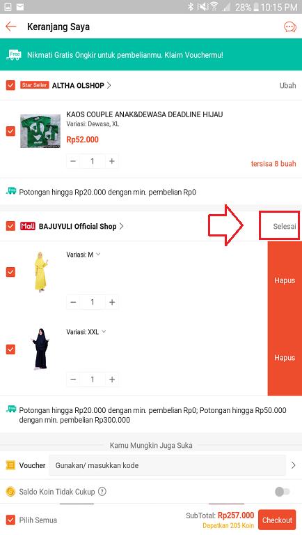 Menyimpan Perubahan/ Penggantian Variasi di Keranjang Belanja Shopee.