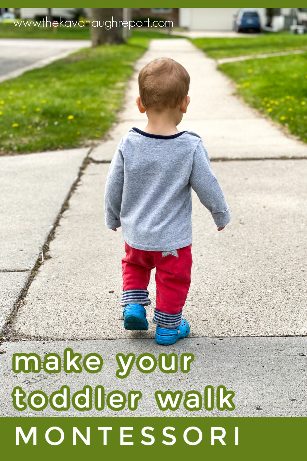 Montessori tips for walking with a 1-year-old. This fun, easy activity is perfect for getting outside with your toddler.