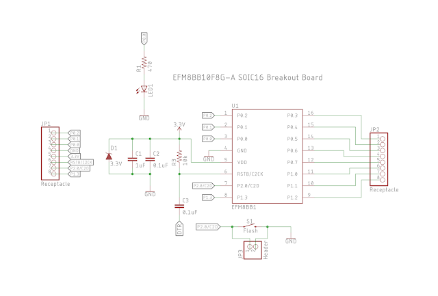 EFM8BB1 SOIC16 Breakout Board Schematic
