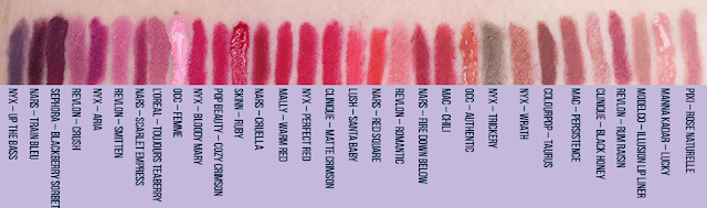 Neutral, Brown, Orange, Red, Pink, Purple Lipstick MEGA SWATCH | Crappy Candle