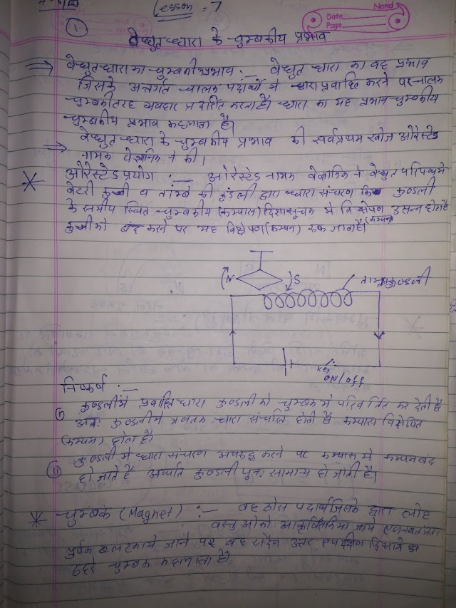 Electromagnetic effects of current 12th Physics Notes Pdf  Download विधुत धारा के चुम्बकीय प्रभाव chapter 7
