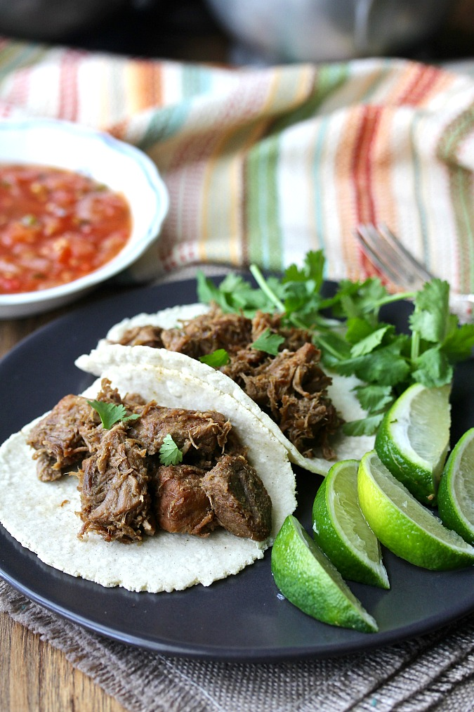 Beer Braised Carnitas with limes and salsa