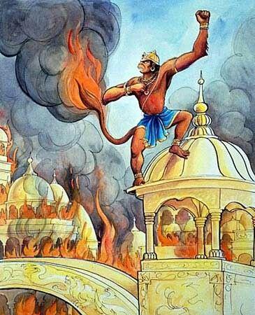 hanuman burning lanka
