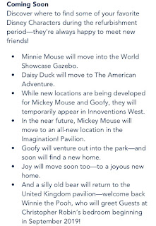 Epcot Character Changes Announcement September 2019