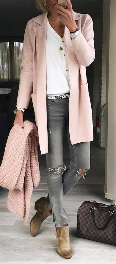 cool outfit / knit scarf + skinnies + bag + boots + pink cardigan + top