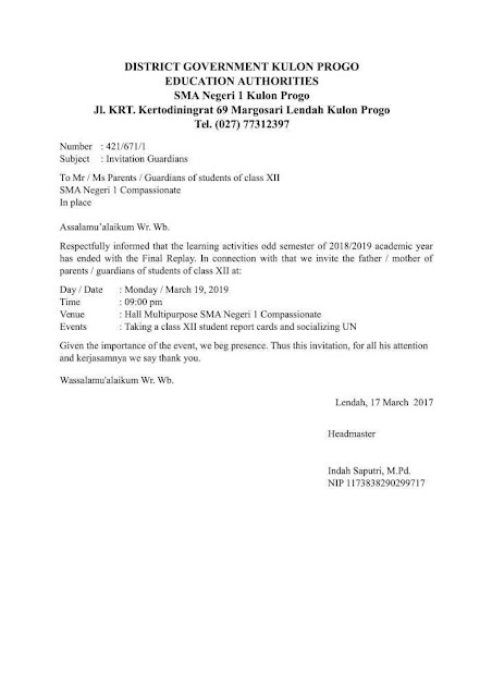 Contoh Undangan Formal Dalam Bahasa Inggris (via: suratresmi.net)