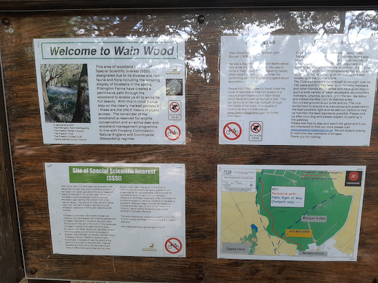 Noticeboard in Wain Wood, a site of special scientific interest  Image by Hertfordshire Walker released via Creative Commons BY-NC-SA 4.0