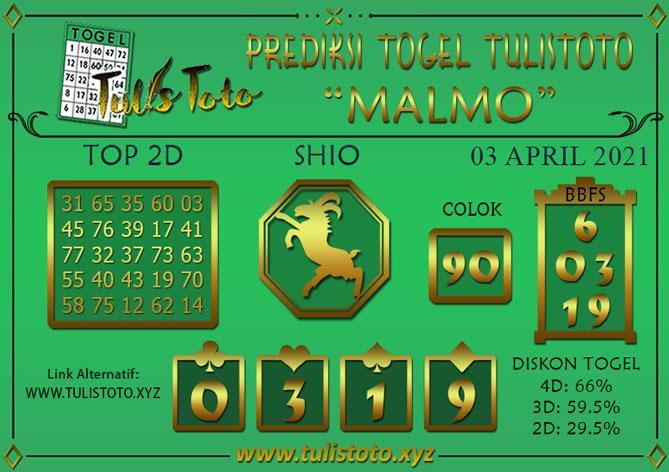 Prediksi Togel MALMO TULISTOTO 03 APRIL 2021