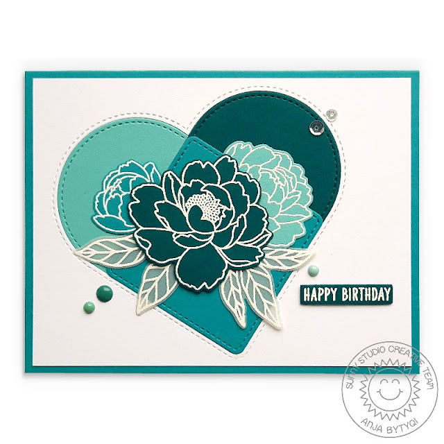 Sunny Studio Stamps: Stitched Arch Dies Pink Peonies Birthday Card by Anja Bytyqi