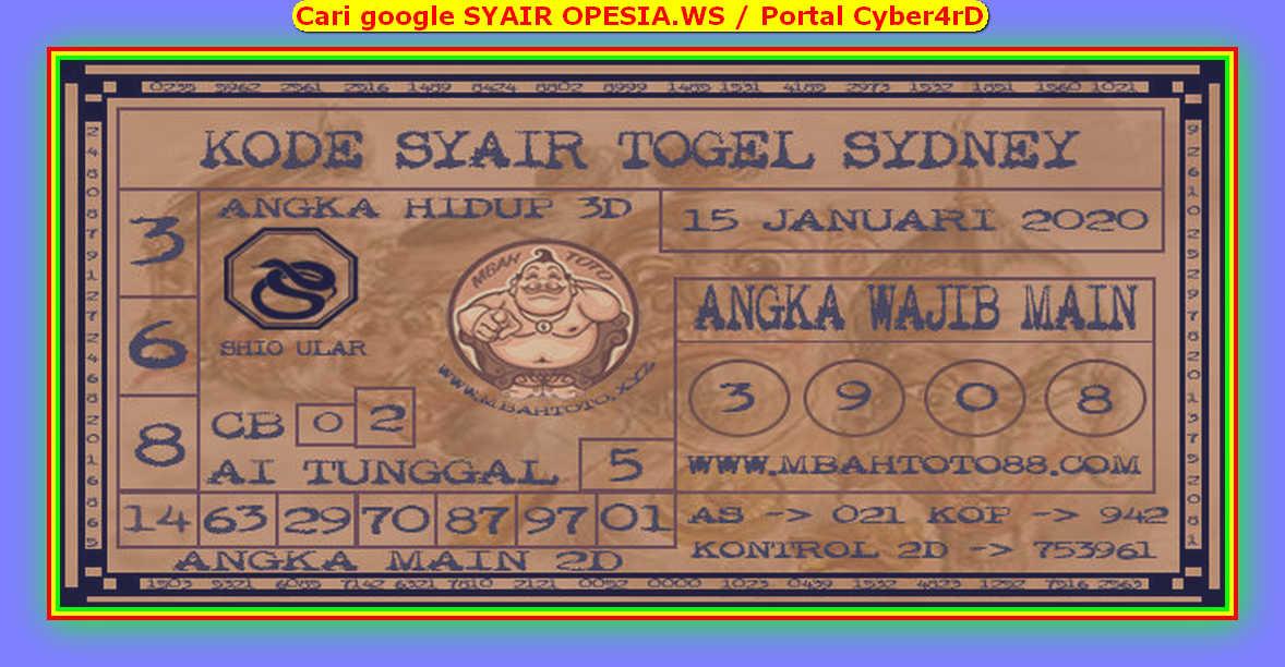 Kode syair Sydney Rabu 15 Januari 2020 65