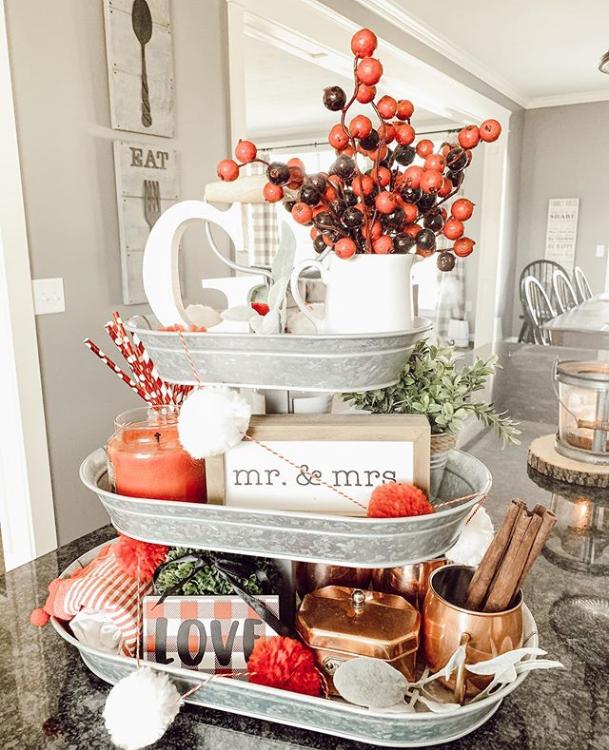 Three-tier galvanized tray with wedding anniversary theme